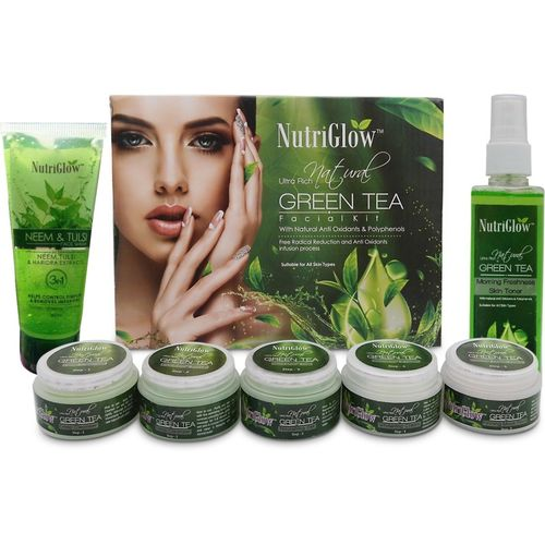 NutriGlow Green tea facial kit / Neem Tulsi Face wash and Green Tea toner/ Antioxidant Face Treatment(3 x 0.33)