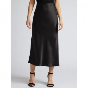 DOROTHY PERKINS Women Black Solid Straight Skirt With Satin Finish