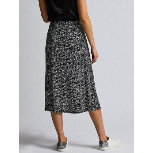 DOROTHY PERKINS Women Black & Off White Printed Midi A-Line Skirt