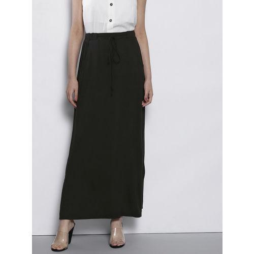 DOROTHY PERKINS Black Solid Maxi Straight Skirt