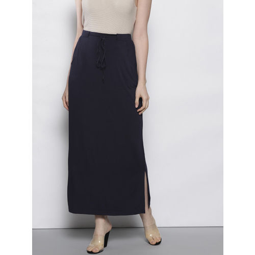DOROTHY PERKINS Women Navy Blue Solid Midi Straight Skirt