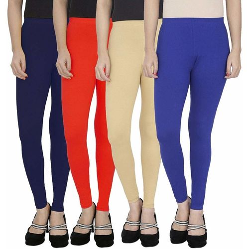 Swastik Stuffs Ankle Length Legging(Dark Blue, Red, Beige, Blue, Solid)