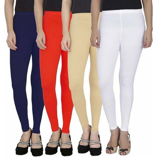 Swastik Stuffs Ankle Length Legging(Dark Blue, Red, Beige, White, Solid)