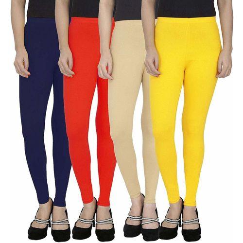 Swastik Stuffs Ankle Length Legging(Dark Blue, Red, Beige, Yellow, Solid)