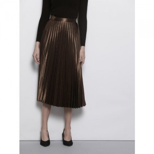 DOROTHY PERKINS Women Brown Accordion Pleated Solid A-Line Skirt With Satin Finish