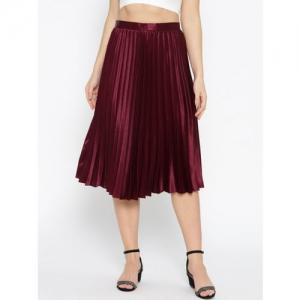 DOROTHY PERKINS Women Burgundy Satin Finish Solid Accordion Pleated Midi A-Line Skirt