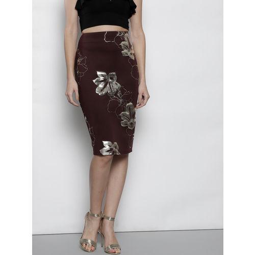 DOROTHY PERKINS Women Burgundy & Golden Printed Pencil Skirt
