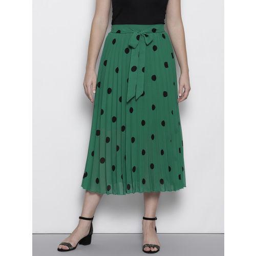 DOROTHY PERKINS Women Green & Black Accordion Pleats Polka Dot Print Flared A-Line Skirt