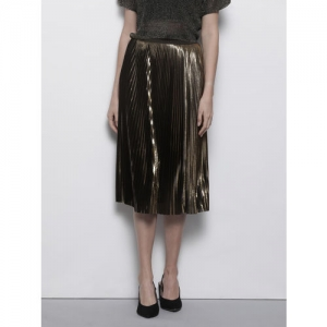 DOROTHY PERKINS Women Golden & Black Accordion Pleated Solid A-Line Skirt