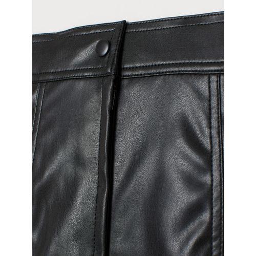 H&M Women Black Solid Imitation Leather Skirt