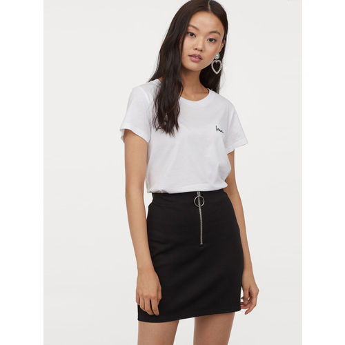 H&M Women Black Solid Zipped Skirt
