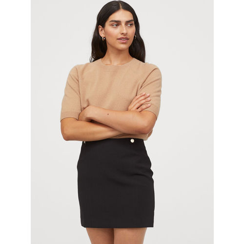 H&M Women Black Solid Pencil Short Skirt
