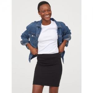 H&M Women Black Solid Pencil Short Jersey Skirt