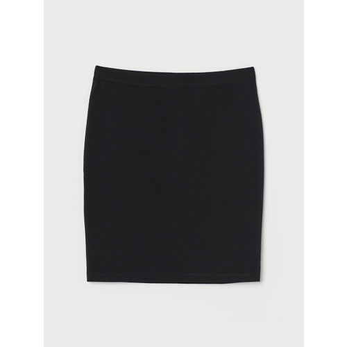 H&M Women Black Solid Pencil Short Jersey Skirt