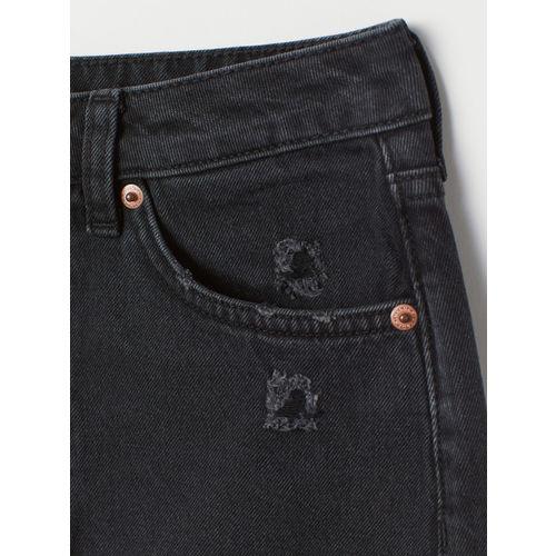 H&M Women Black Solid Knee-length Denim Skirt