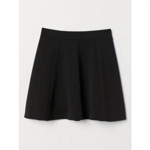 H&M Women Black Solid Skater Skirt