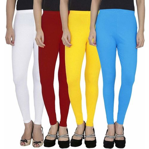 Swastik Stuffs Ankle Length Legging(White, Maroon, Yellow, Light Blue, Solid)