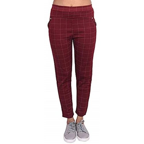 world choice Maroon Jegging(Checkered)