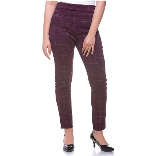 RED KAMAL Maroon Jegging(Checkered)