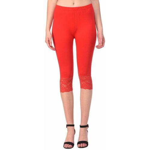 Ratan Cloth Factory 3/4th/Calf Length Legging(Orange, Self Design)
