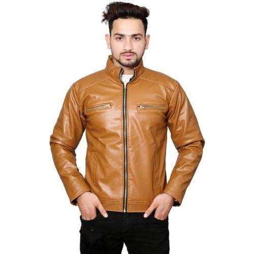 GoldCartz tan faux leather solid jacket