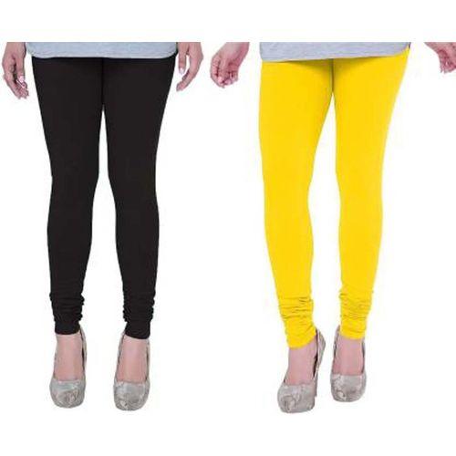 Om Shree Sai Churidar Legging(Black, Yellow, Solid)