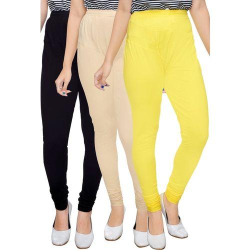 BNB Creations Churidar Legging(Black, Beige, Yellow, Solid)