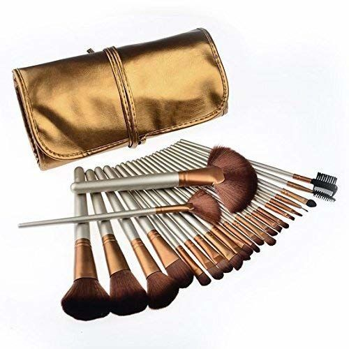MISS & MAM Professional Makeup Brush Set 24 Pcs, Makeup Brushes for Women & Girls, Eyeliner, Eye Shadow, Eye Brow, Premium Wooden Handles with Pouch Case