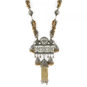 Rubans Oxidised Silver-Toned and gold-toned Oxidised Necklace