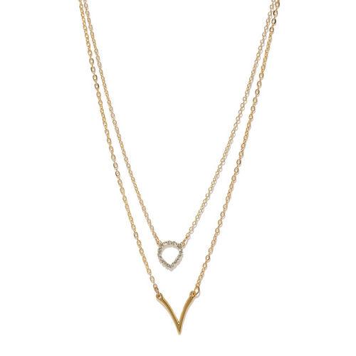 Ayesha Women Gold-Plated Rhinestone Studded Ring & Letter V Pendant Necklace