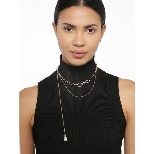 Ayesha Women Gold-Plated Rhinestone Pearl Drop Pendant Layered Necklace