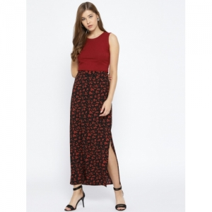 Vero Moda Black & RED Polyester Printed A-Line Maxi Skirt