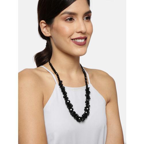 Ayesha Black Rhinestone Studded Necklace