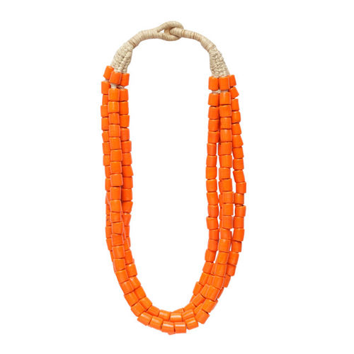 Moedbuille Handcrafted Orange Glass Beads Layered Afghan Design Hand Painted Necklace