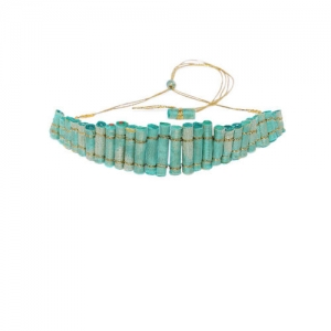 Pipa Bella Green & Gold-Toned Handcrafted Nadia Roller Necklace