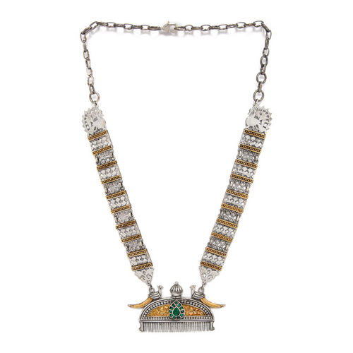 Rubans Women Silver-Plated & Gold-Toned Oxidised Handcrafted Statement Necklace