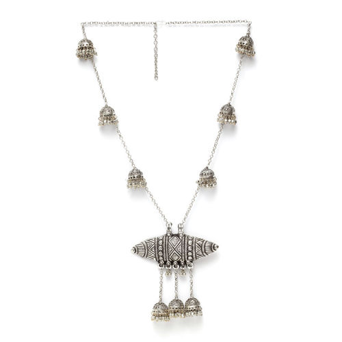 Moedbuille Silver-Plated Handcrafted Jhumki Afghan Design Oxidised Pendant Necklace
