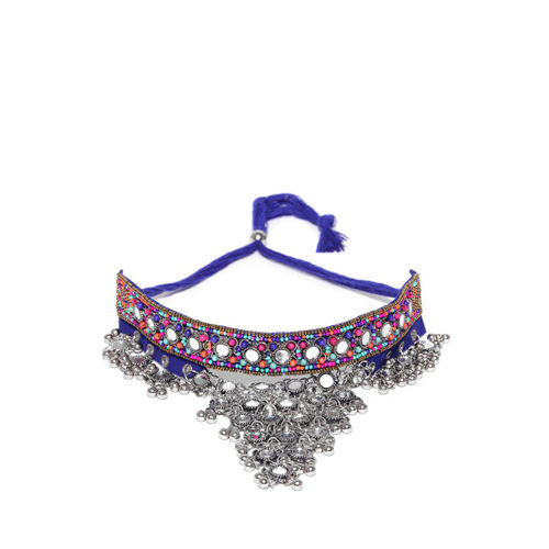 Tarbiya Kraft Blue & Oxidised Silver-Toned Mirror Work Handcrafted Choker Necklace