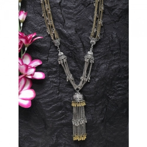 Moedbuille Silver-Plated and Gold-Toned Handcrafted Afghan Design Oxidised Necklace