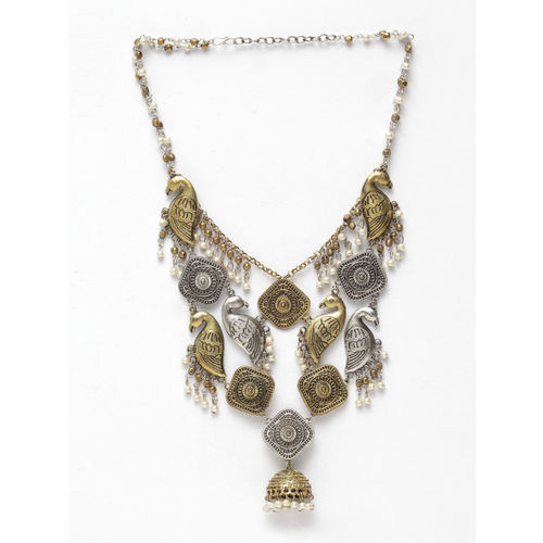 Moedbuille German Silver Gold-Plated Handcrafted Oxidised Necklace