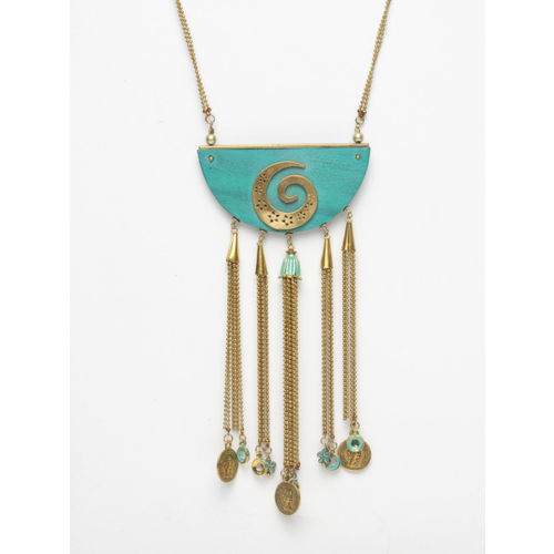 Diva walk Gold-Plated & Blue Handcrafted Necklace