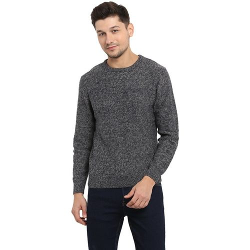 Red Tape Self Design Round Neck Casual Men Blue Sweater