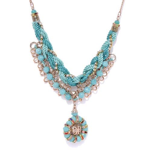 Carlton London Blue Gold-Plated Stone-Studded Beaded Necklace