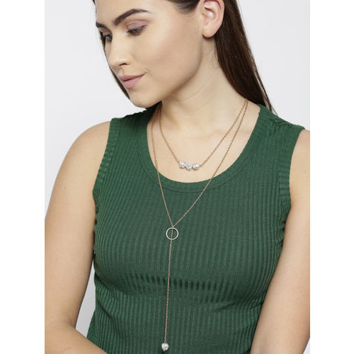 Blueberry Silver-Toned Gold-Plated Stone-Studded Layered Lariat Necklace