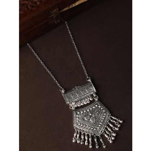 Rubans Oxidized Silver-Toned Hand Crafted Textured Statement Necklace