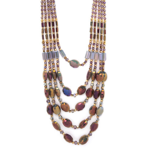Rubans Gold-Toned Hand Crafted Multi- Layer Statement Necklace