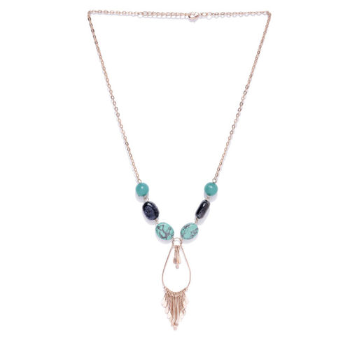 Carlton London Green & Navy Rose Gold-Plated Stone-Studded Tasselled Necklace