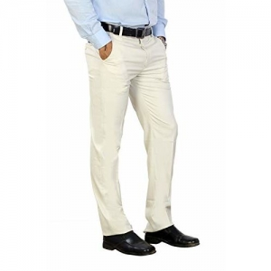Particle Trousers for Mens Formal - Regular Fit Formal Pants Light Cream Colour (Sizes 30 - 44) Grasim Fabric