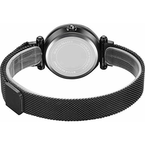 Acnos Hours 3,6,9 Represents Line and 12 Represent Diamond Black 21st Century Magnet Analog Watch for Girls and Women