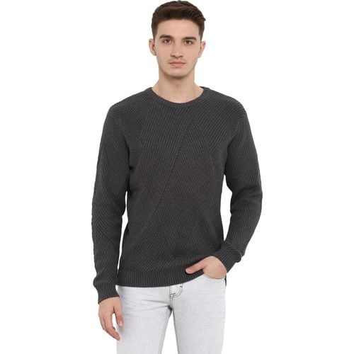 Red Tape Solid Round Neck Casual Men Grey Sweater